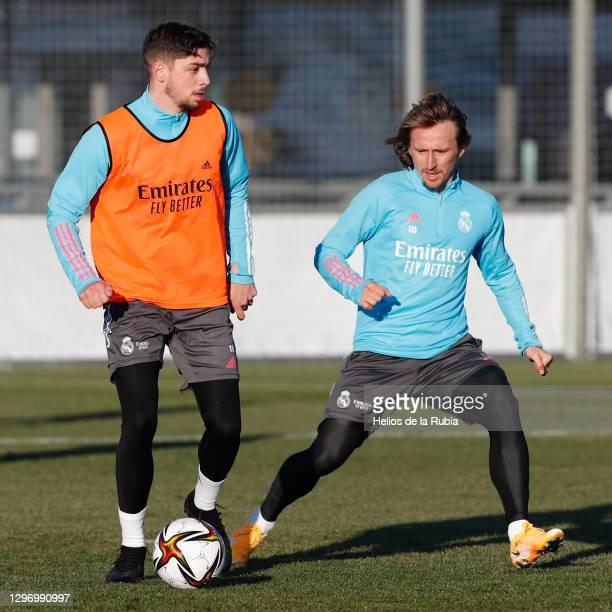 Federico Valverde and Luka Modric at Valdebebas training ground on January 17, 2021 in Madrid, Spain.