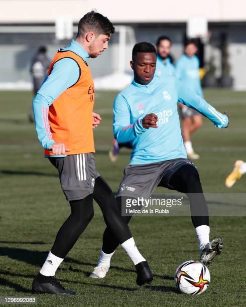 Federico Valverde and Vinicius Junior at Valdebebas training ground on January 17, 2021 in Madrid, Spain.