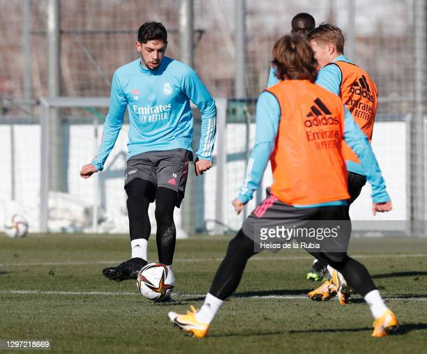 Federico Valverde during a training session at Valdebebas training ground on January 19, 2021 in Madrid, Spain.