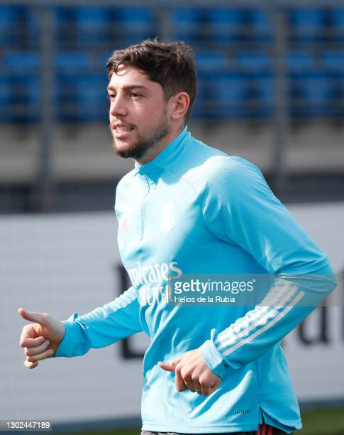 Federico Valverde from Real Madrid at Valdebebas training ground on February 16, 2021 in Madrid, Spain.