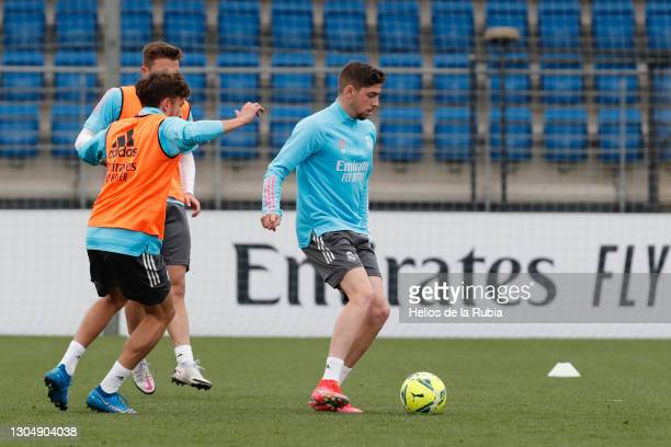 Federico Valverde from Real Madrid CF at Valdebebas training ground on March 02, 2021 in Madrid, Spain.
