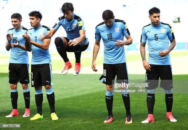 Federico Valverde Joaquin Ardaiz Agustin Canobbio Agustin Rogel and Mathias Olivera of Uruguay before their FIFA U20 World Cup Korea Republic 2017...