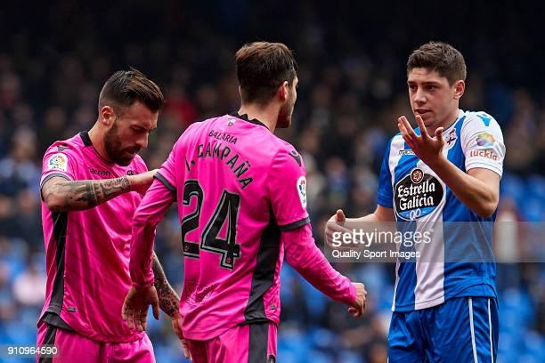 Federico Valverde of Deportivo de La Coruna confronts Jose Campana of UD Levante during the La Liga match between Deportivo La Coruna and Levante at...
