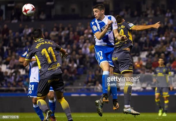 Federico Valverde of Deportivo de La Coruna heads the ball during the Copa del Rey first leg match between Deportivo de La Coruna and UD Las Palmas...