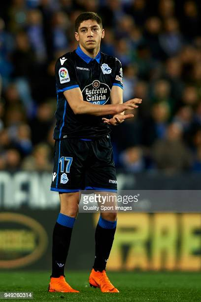 Federico Valverde of Deportivo La Coruna reacts during the La Liga match between Leganes and Deportivo La Coruna at Estadio Municipal de Butarque on...
