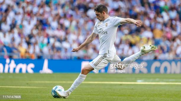 Federico Valverde of FC Real Madrid controls the ball during the Liga match between Real Madrid CF and Granada CF at Estadio Santiago Bernabeu on...
