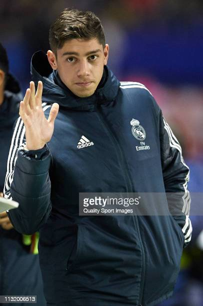 Federico Valverde of Real Madrid acknowledges the fans during the La Liga match between Levante UD and Real Madrid CF at Ciutat de Valencia on...