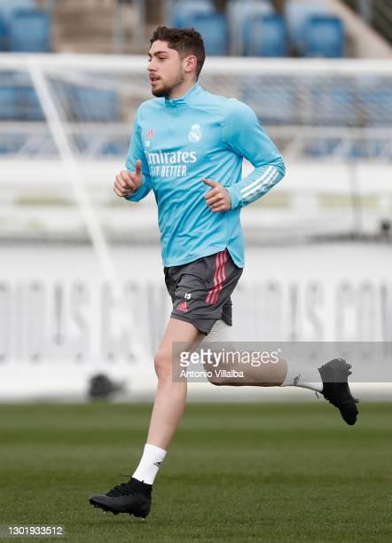 Federico Valverde of Real Madrid at Valdebebas training ground on February 13, 2021 in Madrid, Spain.