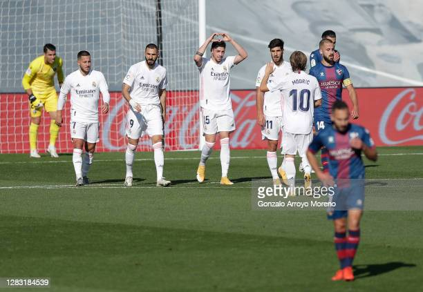 Federico Valverde of Real Madrid celebrates after scoring his sides third goal during the La Liga Santander match between Real Madrid and SD Huesca...