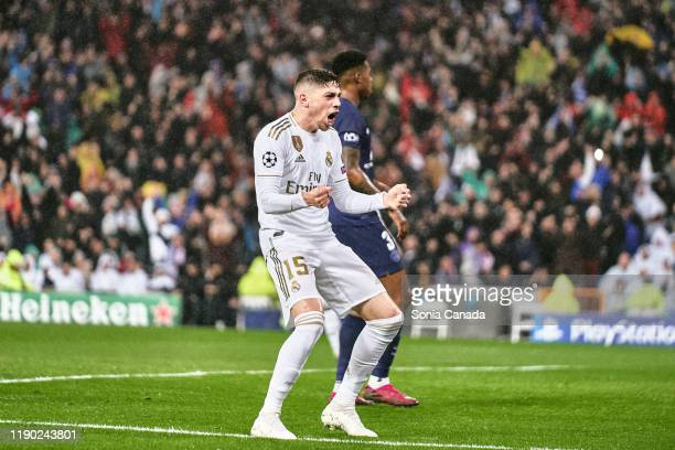 Federico Valverde of Real Madrid celebrates the fist goal of his team during the UEFA Champions League group A match between Real Madrid and Paris...