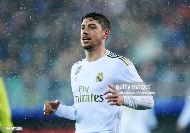 Federico Valverde of Real Madrid CF celebrates after scoring his team's fourth goal during the Liga match between SD Eibar SAD and Real Madrid CF at...