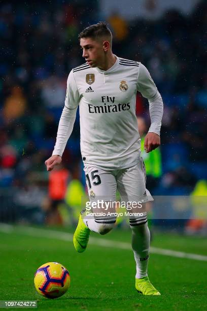 Federico Valverde of Real Madrid CF controls the ball during the La Liga match between Real Madrid CF and Sevilla FC at Estadio Santiago Bernabeu on...