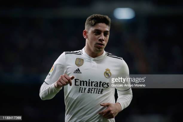 Federico Valverde of Real Madrid CF in action during the La Liga match between Real Madrid CF and FC Barcelona at Estadio Santiago Bernabeu on March...