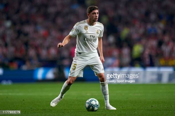 Federico Valverde of Real Madrid CF in action during the Liga match between Club Atletico de Madrid and Real Madrid CF at Wanda Metropolitano on...