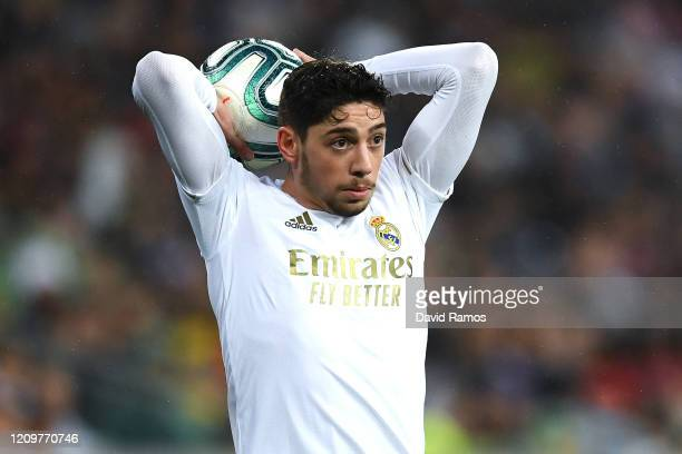 Federico Valverde of Real Madrid CF looks on during the Liga match between Real Madrid CF and FC Barcelona at Estadio Santiago Bernabeu on March 01...