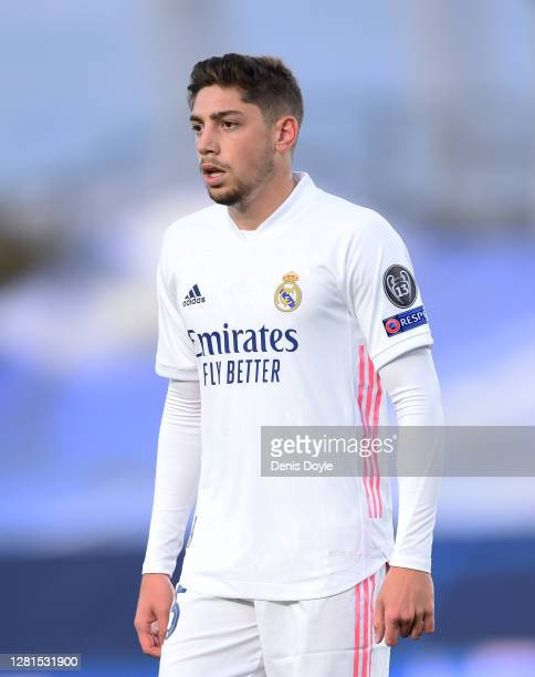 Federico Valverde of Real Madrid CF looks on during the UEFA Champions League Group B stage match between Real Madrid and Shakhtar Donetsk at Estadio...