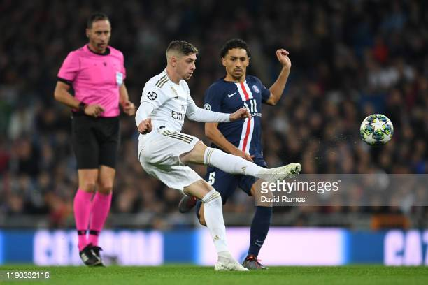 Federico Valverde of Real Madrid clears the ball during the UEFA Champions League group A match between Real Madrid and Paris SaintGermain at...