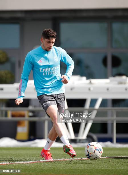 Federico Valverde of Real Madrid controls the ball during a training session CF at Valdebebas training ground on February 26, 2021 in Madrid, Spain.
