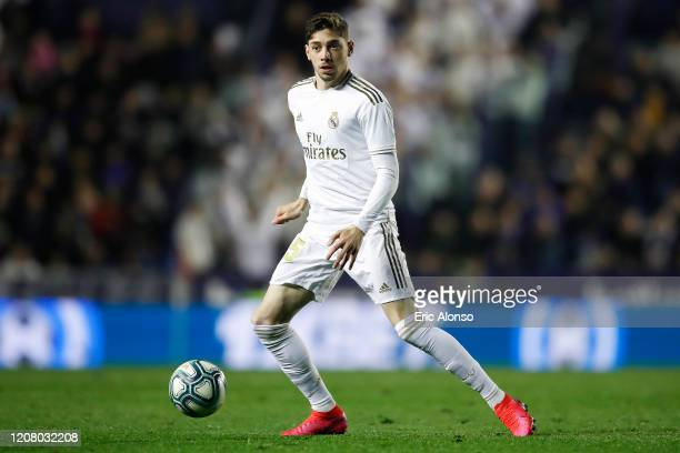 Federico Valverde of Real Madrid controls the ball during the Liga match between Levante UD and Real Madrid CF at Ciutat de Valencia on February 22...