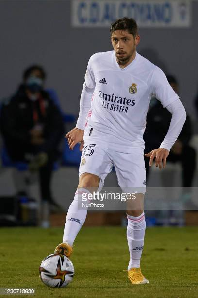 Federico Valverde of Real Madrid controls the ball during the round of 32 the Copa del Rey match between CD Alcoyano and Real Madrid at Campo...