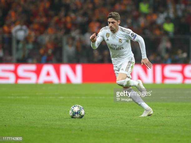 Federico Valverde of Real Madrid controls the ball during the UEFA Champions League group A match between Galatasaray and Real Madrid at Turk Telekom...