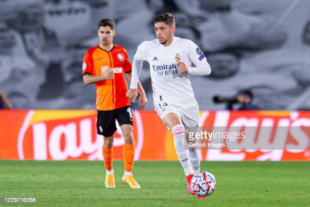 Federico Valverde of Real Madrid controls the ball during the UEFA Champions League Group B stage match between Real Madrid and Shakhtar Donetsk at...