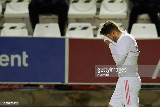 Federico Valverde of Real Madrid dejected after losing to Alcoyano the round of 32 the Copa del Rey match between CD Alcoyano and Real Madrid at...