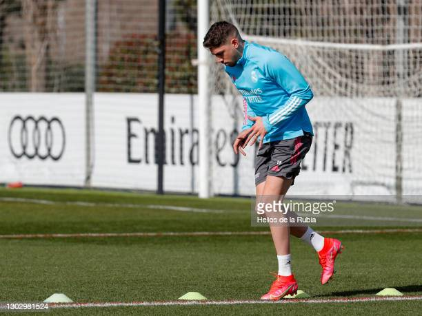 Federico Valverde of Real Madrid during a training session at the Valdebebas training ground on February 19, 2021 in Madrid, Spain.