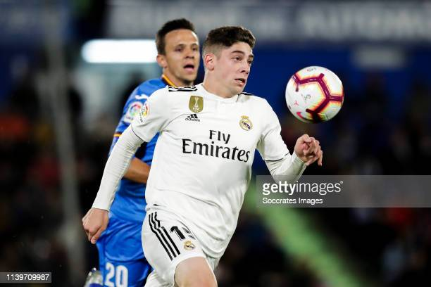 Federico Valverde of Real Madrid during the La Liga Santander match between Getafe v Real Madrid at the Coliseum Alfonso Perez on April 25 2019 in...