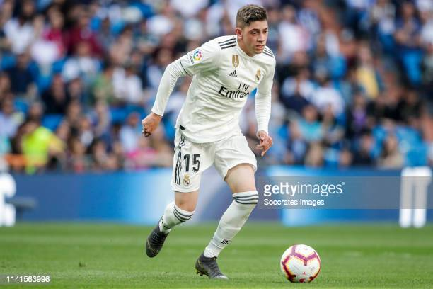 Federico Valverde of Real Madrid during the La Liga Santander match between Real Madrid v Villarreal at the Santiago Bernabeu on May 5 2019 in Madrid...