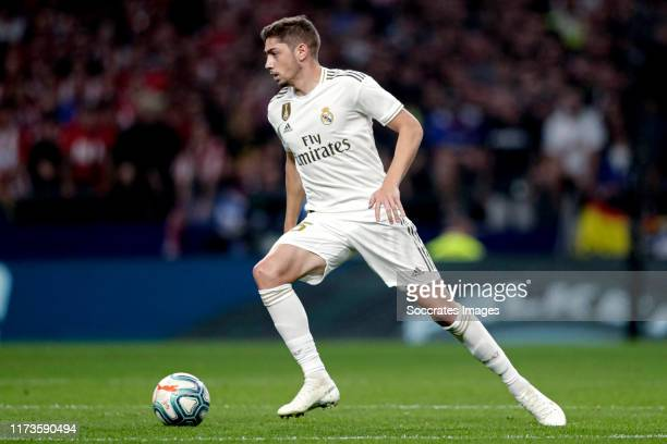Federico Valverde of Real Madrid during the La Liga Santander match between Atletico Madrid v Real Madrid at the Estadio Wanda Metropolitano on...