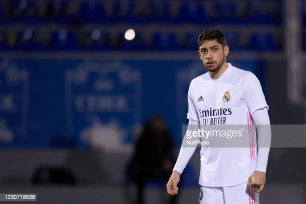 Federico Valverde of Real Madrid during the round of 32 the Copa del Rey match between CD Alcoyano and Real Madrid at Campo Municipal de El Collao on...