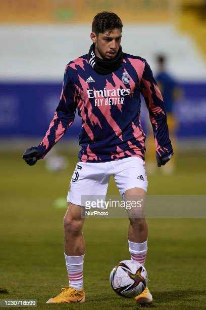 Federico Valverde of Real Madrid during the warm-up before the round of 32 the Copa del Rey match between CD Alcoyano and Real Madrid at Campo...