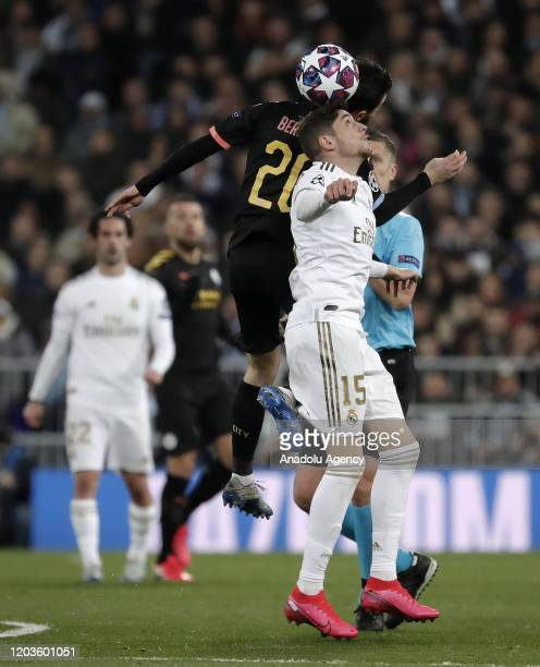 Federico Valverde of Real Madrid in action against Bernardo Silva of Manchester City during the UEFA Champions League round of 16 first leg soccer...