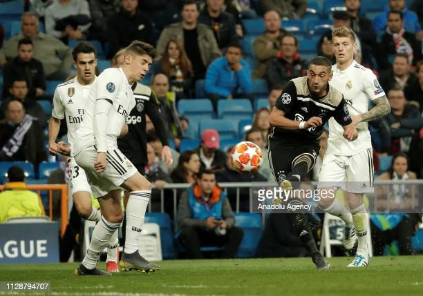 Federico Valverde of Real Madrid in action against Hakim Ziyech of Ajax during UEFA Champions League Round of 16 second leg match between Real Madrid...