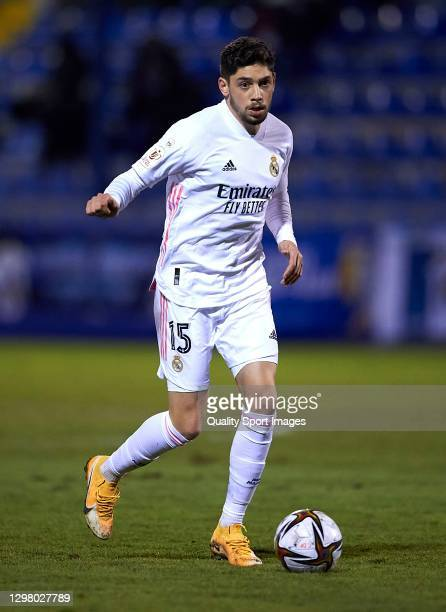 Federico Valverde of Real Madrid in action during the Copa del Rey third round match between CD Alcoyano and Real Madrid at El Collao on January 20,...