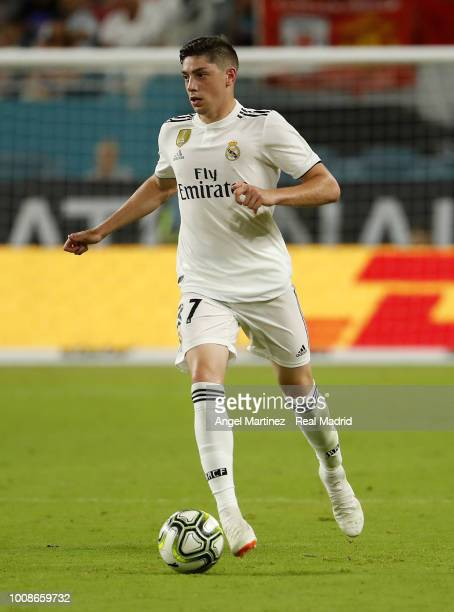 Federico Valverde of Real Madrid in action during the International Champions Cup 2018 match between Manchester United and Real Madrid at Hard Rock...