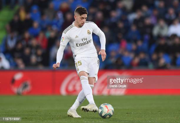 Federico Valverde of Real Madrid in action during the La Liga match between Getafe CF and Real Madrid CF at Coliseum Alfonso Perez on January 04 2020...