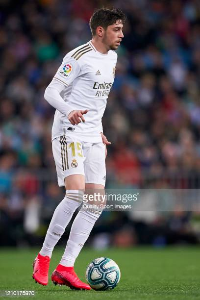 Federico Valverde of Real Madrid in action during the La Liga match between Real Madrid CF and FC Barcelona at Estadio Santiago Bernabeu on March 01...