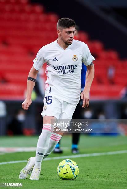Federico Valverde of Real Madrid in action during the La Liga Santander match between Athletic Club and Real Madrid at Estadio de San Mames on May...
