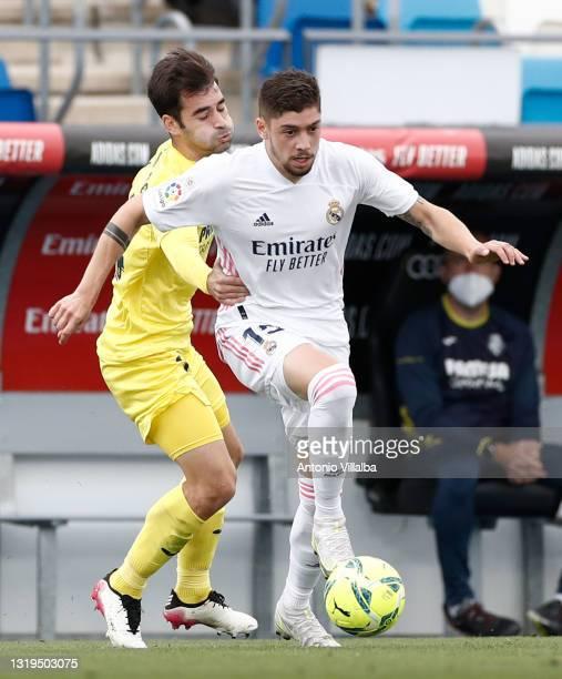 Federico Valverde of Real Madrid in action during the La Liga Santander match between Real Madrid and Villarreal CF at Estadio Santiago Bernabeu on...