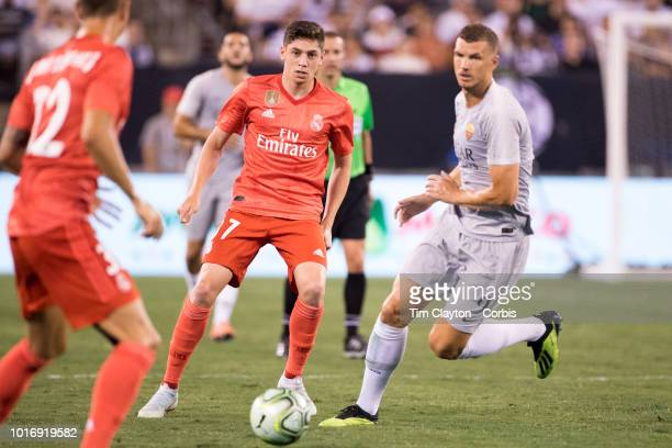 Federico Valverde of Real Madrid in action during the Real Madrid vs AS Roma International Champions Cup match at MetLife Stadium on August 7 2018 in...