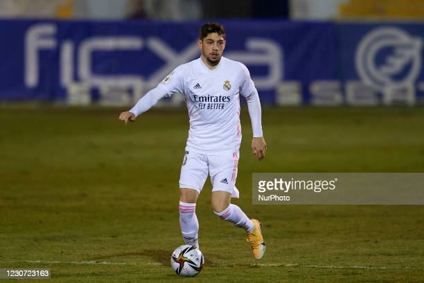Federico Valverde of Real Madrid in action during the round of 32 the Copa del Rey match between CD Alcoyano and Real Madrid at Campo Municipal de El...