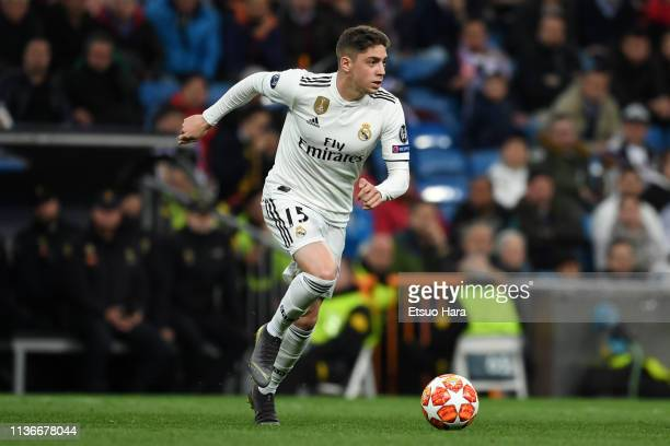 Federico Valverde of Real Madrid in action during the UEFA Champions League Round of 16 Second Leg match between Real Madrid and Ajax at Santiago...