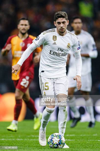 Federico Valverde of Real Madrid in action during the UEFA Champions League group A match between Galatasaray and Real Madrid at Turk Telekom Arena...