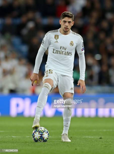 Federico Valverde of Real Madrid in action during the UEFA Champions League group A match between Real Madrid and Galatasaray at Bernabeu on November...