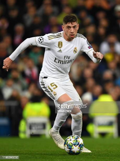 Federico Valverde of Real Madrid in action during the UEFA Champions League group A match between Real Madrid and Paris SaintGermain at Bernabeu on...