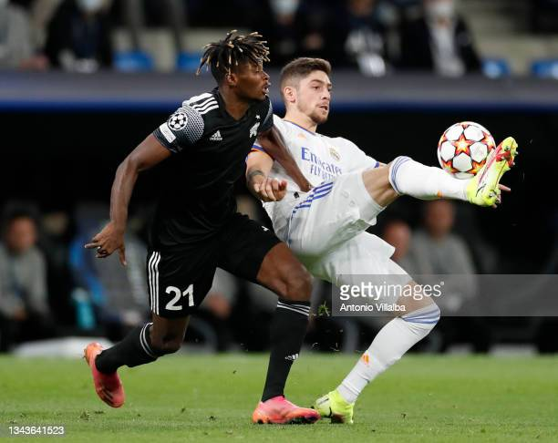 Federico Valverde of Real Madrid in action during the UEFA Champions League group D match between Real Madrid and FC Sheriff at Estadio Santiago...