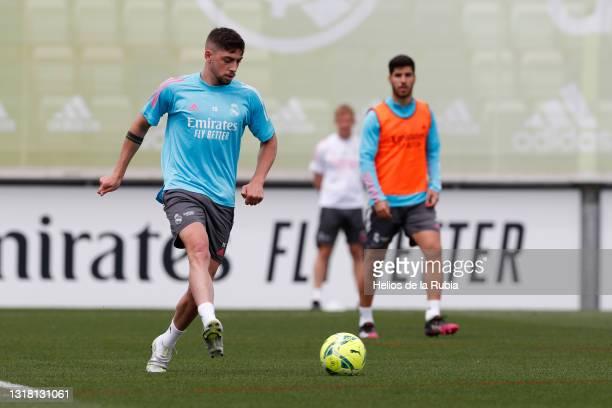 Federico Valverde of Real Madrid is training at Valdebebas training ground on May 15, 2021 in Madrid, Spain.