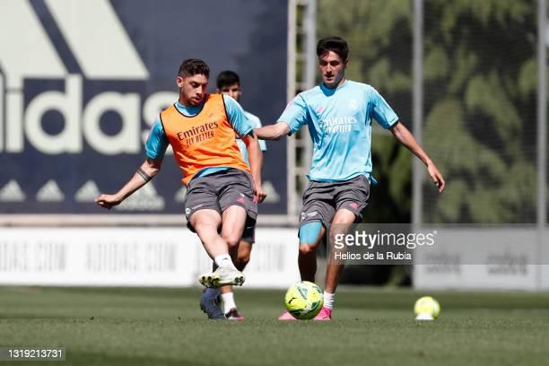 Federico Valverde of Real Madrid is training at Valdebebas training ground on May 21, 2021 in Madrid, Spain.
